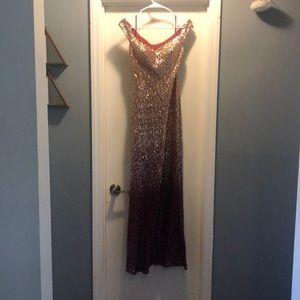 Gold-burgundy ombré formal sequin mermaid dress.